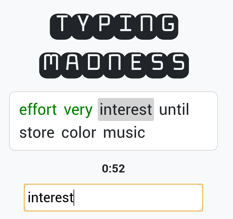 Practise typing at TypingMadness.com